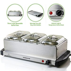 Ovente Mini 3-Tray Buffet Server and Food Warmer with Stand Alone Warmer Tray