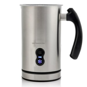 Ovente 8 oz. Silver Automatic Electric Milk Frother and Steamer Hot or Cold Froth Functionality Foam Maker and Warmer