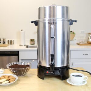 West Bend 100-Cup Silver Aluminum with Quick Brewing NSF Certified Commercial Coffee Urn Features Automatic Temperature Control