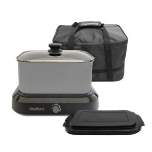 West Bend 6 qt. Silver Non-Stick Versatility Slow Cooker with 5-Temperature Settings Includes Travel Lid and Thermal Tote