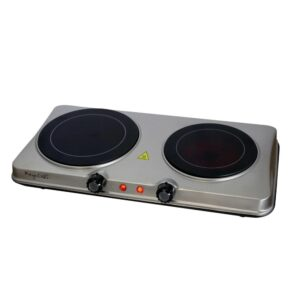 MegaChef Portable 2-Burner 7.5 in. Sleek Steel Hot Plate with Temperature Control