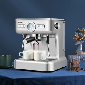 Costway 2-Cup Stainless Steel Semi-Auto Espresso Machine Maker with Milk Frother Wand