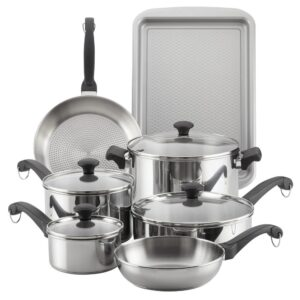 Farberware Classic Traditions 12-Piece Stainless Steel Nonstick Cookware Set
