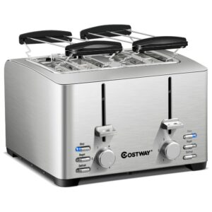 Costway 4-Slice Stainless Steel Extra-Wide Slot Toaster with Warming Rack