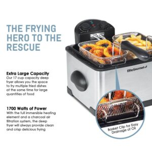 Elite 4 Qt. Deep Fryer with Dual Basket in Stainless Steel