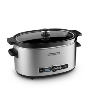KitchenAid 6 Qt. Stainless Steel Slow Cooker with Glass Lid and Built-In Timer