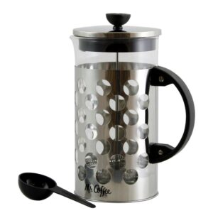 Mr. Coffee Polka Dot Brew 4-Cup Silver Coffee Press with Scoop