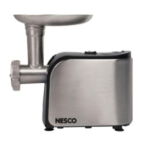 Nesco 500 W 0.67 HP Stainless Steel Electric Meat Grinder with Sausage Stuffer and Food Pusher