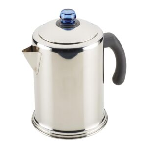 Farberware 12-Cup Classic Stainless Steel with Blue Knob Coffee Percolator