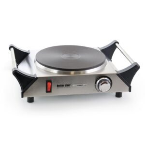Better Chef Portable Single Burner Stainless Steel 8 in. Solid Element Electric Hot Plate