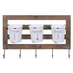 DANYA B Hanging Metal Utensil Caddy with Hooks and Tin Buckets