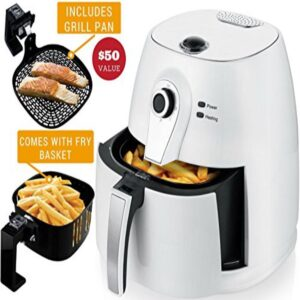 Ovente 3.2 qt. White Electric Air Fryer with 30-min Timer, Adjustable Temperature Controls, Includes Fry Basket and Grill Pan
