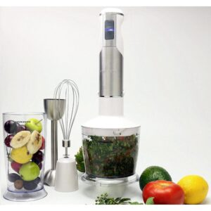 Ovente 6-Speed White Immersion Blender with Chopper and Whisk Attachment